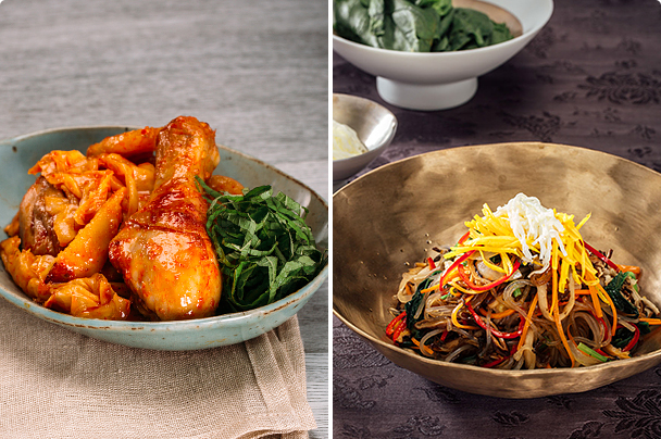 Dakbokkeum Tang (Spicy Chicken Stew) & Japchae (Glass-Noodle Salad)